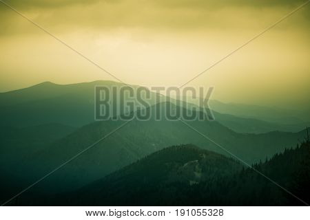 A Beautiful, Colorful, Abstract Mountain Landscape With A Warm Green Summer Haze. Decorative, Artist