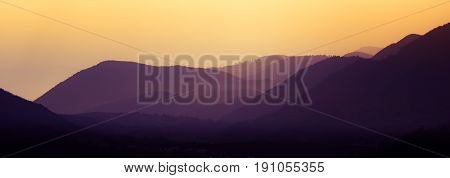 A Beautiful, Colorful, Abstract Mountain Landscape In A Mystic Purple And Orange Tonality. Decorativ