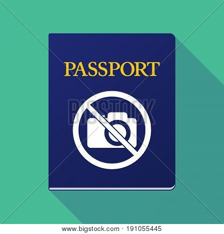 Long Shadow Passport With  A Photo Camera  In A Not Allowed Signal