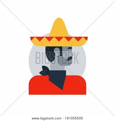 Mexican man in sombrero and poncho, side view turned head, male character turned head. Flat design vector illustration