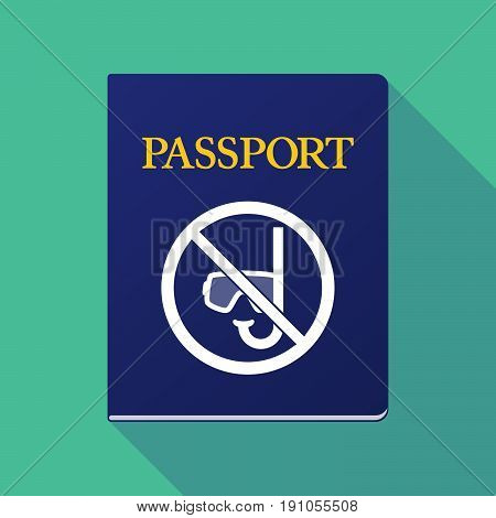Long Shadow Passport With  A Diving Glasses And A Snorkel  In A Not Allowed Signal