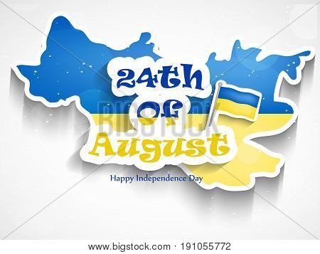 illustration of 24th of August text with Ukraine flag on Ukraine map background on the occasion of Ukraine Independence Day text