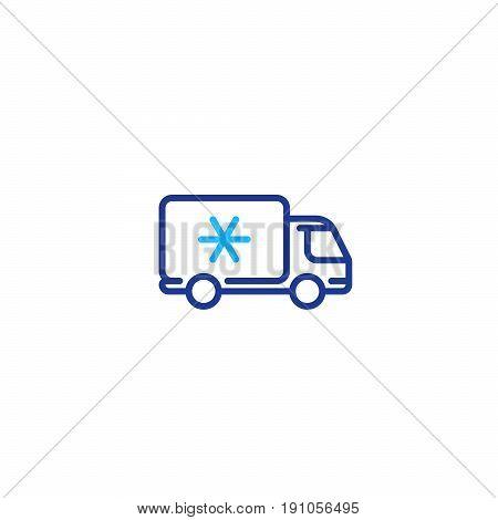 Fridge truck, ice cream van, delivery vehicle services, freezer, vector mono line icon