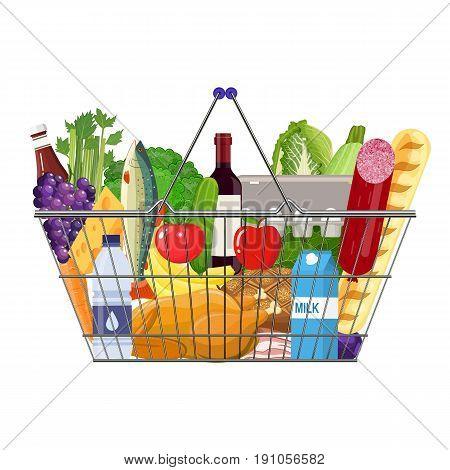 Supermarket shopping basket full of groceries products. Grocery store. vector illustration in flat style