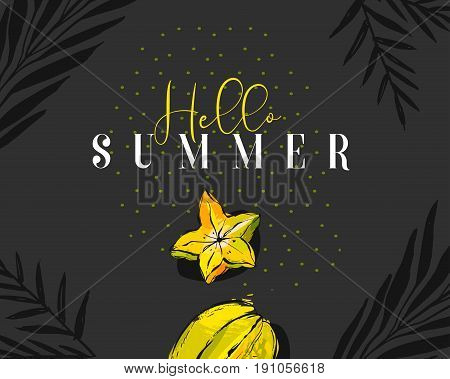 Hand drawn vector abstract summer time creative header with tropical fruit carambola, exotic palm leaves and modern calligraphy quote Hello Summer with polka dots texture isolated on black background.