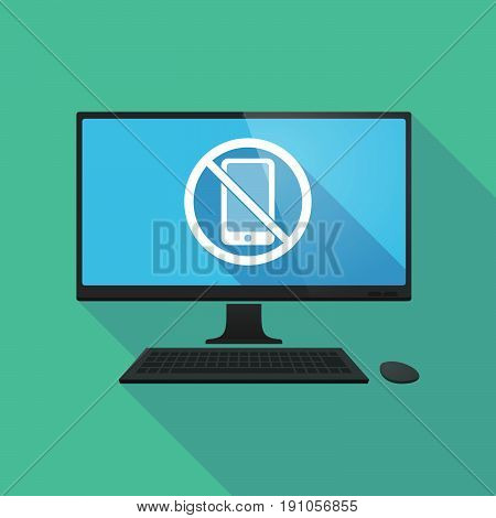 Long Shadow Computer With  A Phone  In A Not Allowed Signal