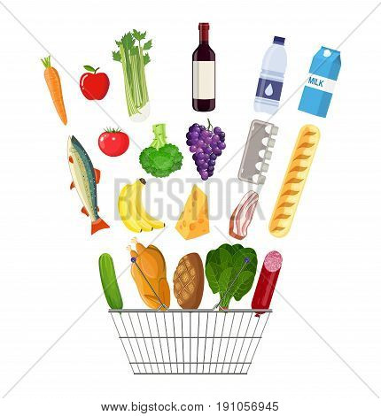 Metal shopping basket full of groceries products. Grocery store. Fresh organic food and drinks. Vector illustration in flat style