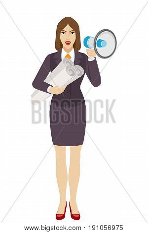 Businesswoman holding the project plans and loudspeaker. Full length portrait of businesswoman character in a flat style. Vector illustration.