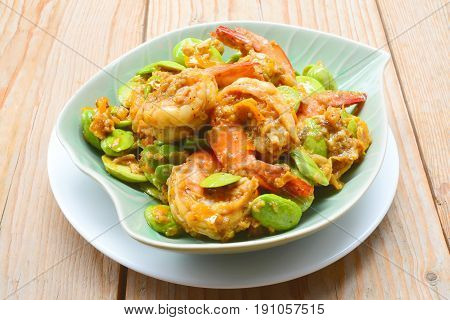 Stir-fried Stink Bean with Prawn, Asian Food