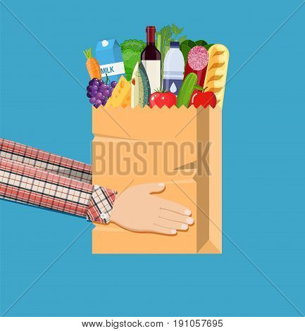 Hands hold paper shopping bag full of groceries products. Grocery store. Supermarket. Fresh organic food and drinks. Vector illustration in flat style