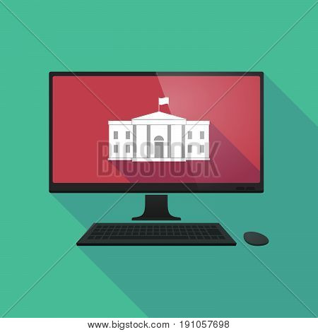 Long Shadow Computer With  The White House Building