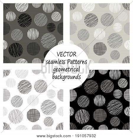 Set Of Seamless Vector Grey Geometrical Patterns With Geometric Figures, Forms. Pastel Endless Backg