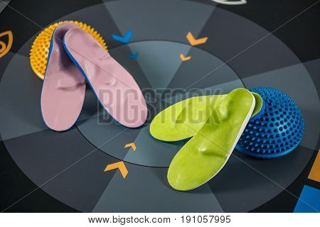 Insoles and balance pad indoors color image close up