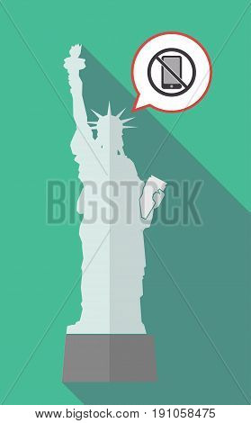 Long Shadow Statue Of Liberty With  A Phone  In A Not Allowed Signal