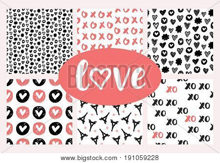 Vector romantic seamless patterns set for Valentines Day, red and black. Hand drawn Eiffel Towers, hearts vintage doodles for wallpaper, wedding invitation, scrapbook, wrapping paper, fashion textile