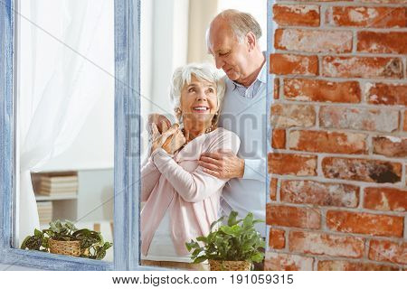 Senior elegant happy husband and wife hugging by the window