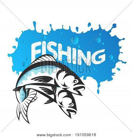 Two fish illustration for fishing illustration vector