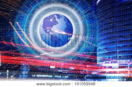 Abstract hi speed internet technology with 3d planet earth and binary code on background of light trails on the modern building