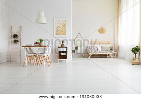 Big white loft space with stylish wooden furniture