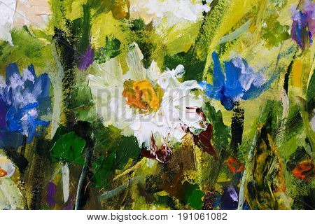 Big white daisy flower camomiles closeup macro oil painting on canvas. Modern Impressionism.Impasto artwork.