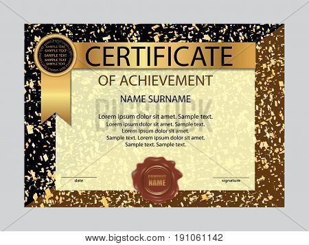 Certificate of achievement template. Elegant background. Vector illustration.