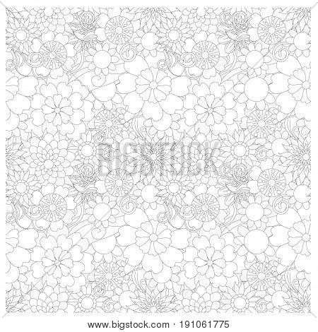 Seamless floral monochrome pattern stock vector illustration