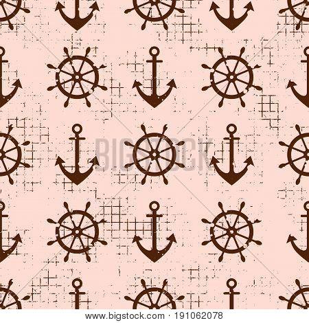 Vector Seamless Pattern Steering Wheel, Life Preserver, Anchor, Creative Geometric Vintage Backgroun