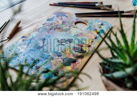 Creative Background With Paint Palette, Paint Brushes And Potted Succulent On The Table