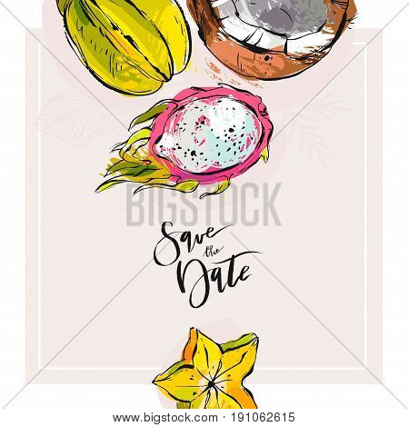 Hand drawn tropic vector abstract Save the date card template with collection of exotic fruits pitaya, carambola and coconut in bright colors isolated on white background.