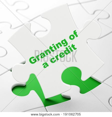 Money concept: Granting of A credit on White puzzle pieces background, 3D rendering