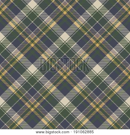 Green blue classic check plaid seamless pattern. Vector illustration.