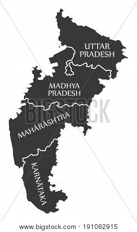 Uttar Pradesh - Madhya Pradesh - Maharashtra - Karnataka Map Illustration Of Indian States