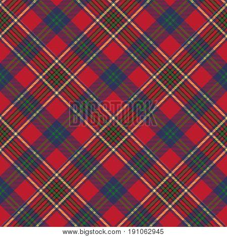 Green red classic tartan check seamless fabric texture. Vector illustration.