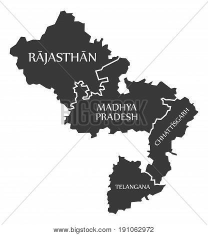 Rajasthan - Madhya Pradesh - Chhattisgarh - Telangana Map Illustration Of Indian States