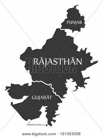 Punjab - Rajasthan - Gujarat - Daman And Diu Map Illustration Of Indian States