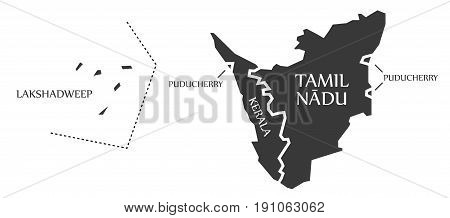 Lakshadweep Island - Puducherry - Kerala - Tamil Nadu Map Illustration Of Indian States