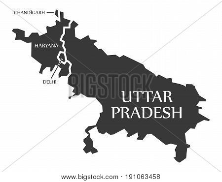 Chandigarh - Haryana - Delhi - Uttar Pradesh Map Illustration Of Indian States