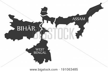 Bihar - West Bengal - Sikkim - Assam Map Illustration Of Indian States