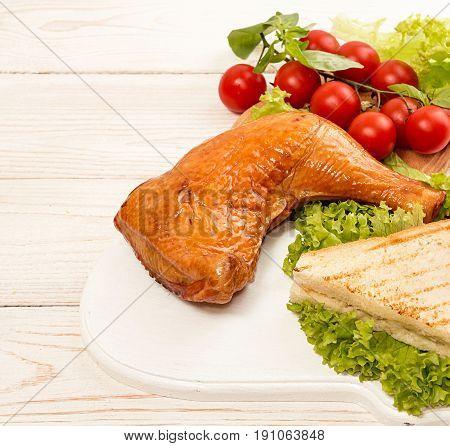 Smoked Chicken Leg. Sandwich With Smoked Grill Chicken