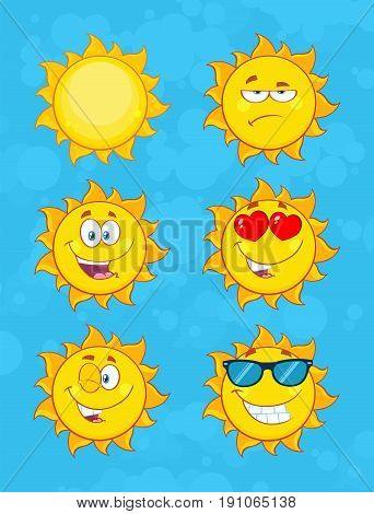 Yellow Sun Cartoon Emoji Face Character Set 1. Collection With Blue Background