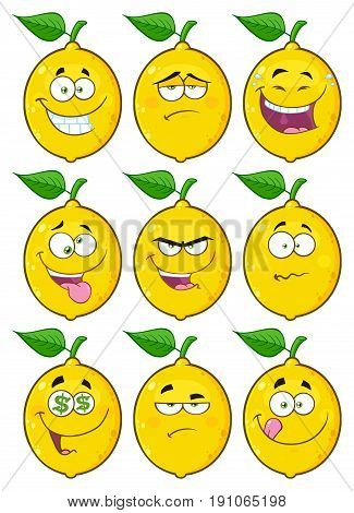 Yellow Lemon Fruit Cartoon Emoji Face Character Set 2. Collection Isolated On White Background