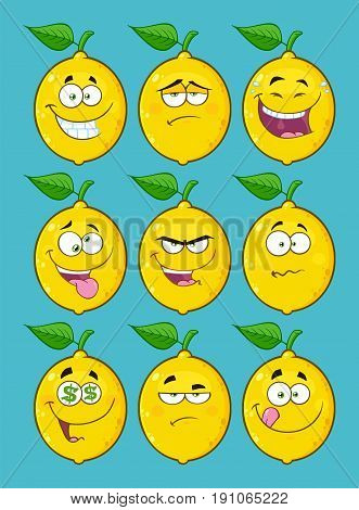 Yellow Lemon Fruit Cartoon Emoji Face Character Set 2. Collection With Blue Background