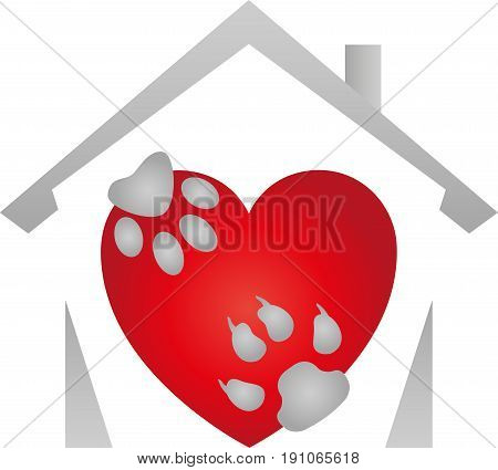 Heart with cat-paw and dog-paw, colored, cats and dog logo