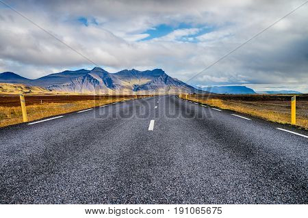 Ring road (number 1) of Iceland going around the island.