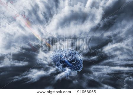 human brain obtaining energy through space concept, communication via artificial intelligence