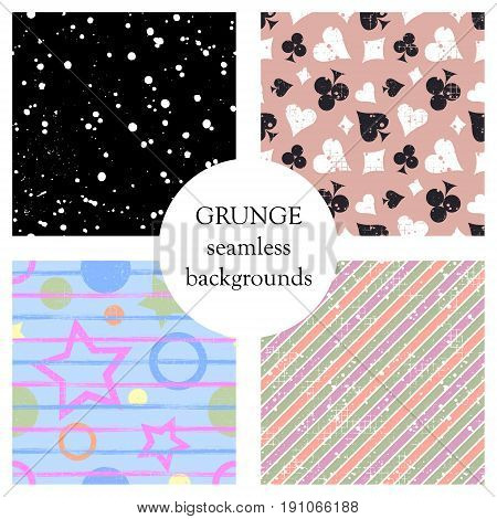 Set Of Seamless Vector Abstract Grunge Patterns, Different Backgrounds With Stars, Circle, Lines, Cr
