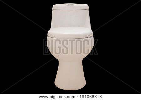 Toilet isolated black background, Concept toilet isolated.