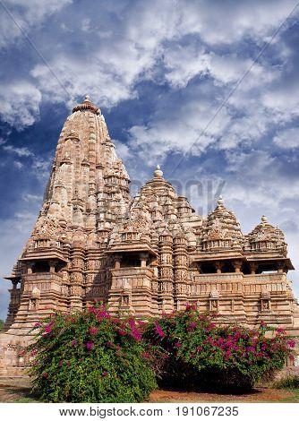 Famous Kandariya Mahadeva temple in Khajuraho, India. Most Khajuraho temples were built between 950 and 1050 by the Chandela dynasty.