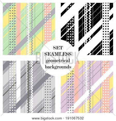 Set of seamless vector geometrical patterns. Endless backgrounds with lines, dots, stripes, zig zag, diagonal. Graphic illustration. Print for cover, fabric, wrapping, web background.