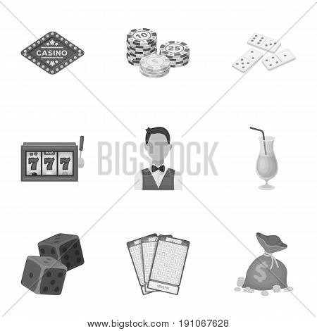 The set of symbols casino games. Gambling for money. Chips, dominoes, casino. Casino and gambling icon in set collection on monochrome style vector symbol stock web illustration.